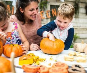 Children celebrating Halloween Stock Photo 03