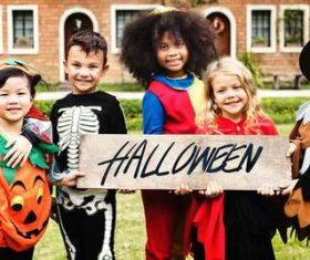 Children celebrating Halloween Stock Photo 09