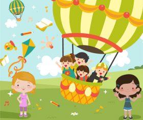 Children hot air balloon tour vector illustration