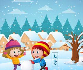 Children snowball playing vector illustration