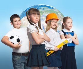 Children who want to work in various occupations Stock Photo