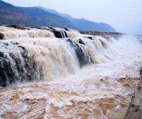 China Yellow River Hukou Waterfall Stock Photo 07