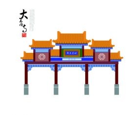 Chinese ancient architecture vector