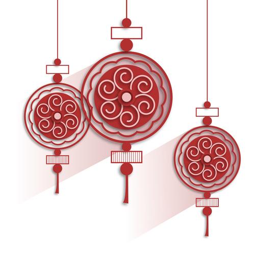 Chinese festive red lantern paper cut art vector