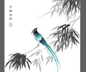 Chinese ink bamboo flower bird vector