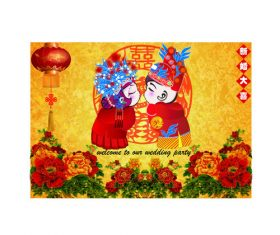 Chinese style wedding greeting card vector