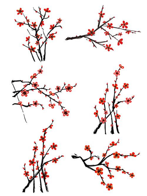 Chinese wind vector plum set illustration elements