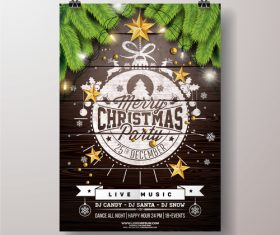 Christams party flyer with poster template vector 01