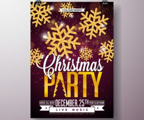 Christams party flyer with poster template vector 02