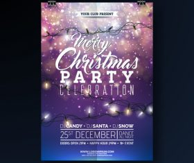 Christams party flyer with poster template vector 03