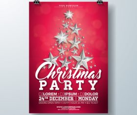 Christams party flyer with poster template vector 04