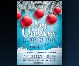 Christams party flyer with poster template vector 05