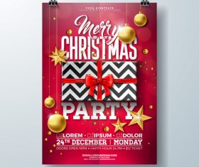 Christams party flyer with poster template vector 06