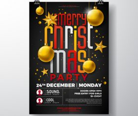 Christams party flyer with poster template vector 07