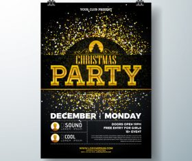 Christams party flyer with poster template vector 08