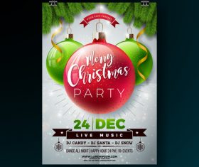 Christams party flyer with poster template vector 09