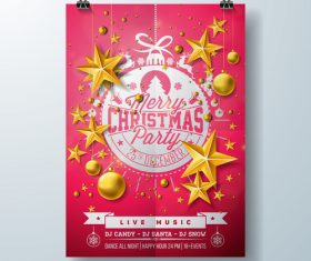 Christams party flyer with poster template vector 10