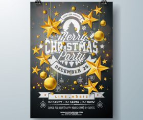 Christams party flyer with poster template vector 11