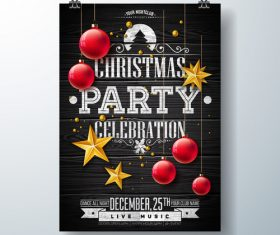 Christams party flyer with poster template vector 12