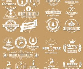 Christams retro logos with labels and badge vectors set 01