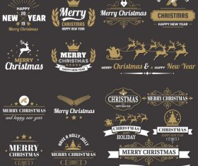Christams retro logos with labels and badge vectors set 02
