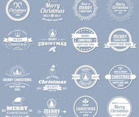 Christams retro logos with labels and badge vectors set 03