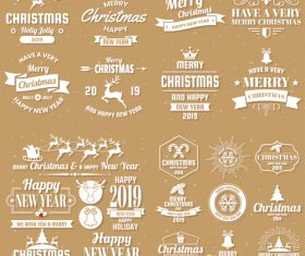 Christams retro logos with labels and badge vectors set 04