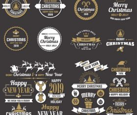 Christams retro logos with labels and badge vectors set 12