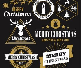 Christams retro logos with labels and badge vectors set 08