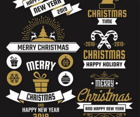 Christams retro logos with labels and badge vectors set 09
