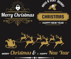 Christams retro logos with labels and badge vectors set 11