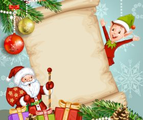 Christmas background with old paper vectors 01