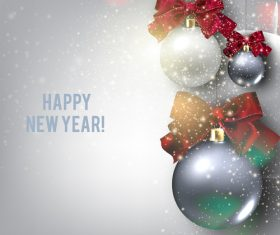 Christmas balls with xmas background vector 03
