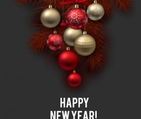 Christmas balls with xmas background vector 05