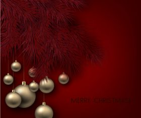 Christmas balls with xmas background vector 07