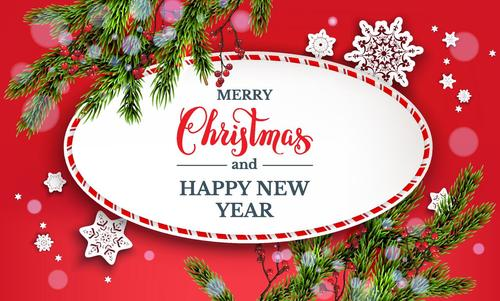 christmas card with red new year background vector