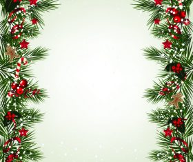 Christmas fir branches border with baubles vector 01