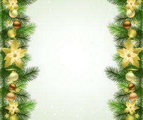 Christmas fir branches border with baubles vector 02