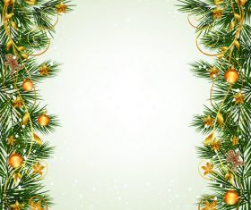 Christmas fir branches border with baubles vector 03