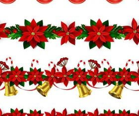 Christmas flower borders seamless vector 01