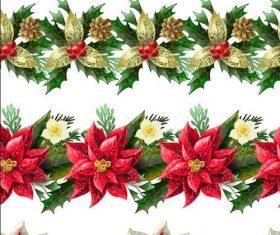 Christmas flower borders seamless vector 02