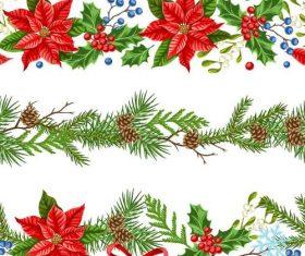 Christmas flower borders seamless vector 03