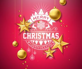 Christmas golden baubles with new year festvial background vector 01
