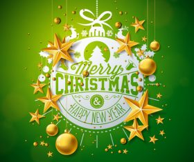 Christmas golden baubles with new year festvial background vector 02