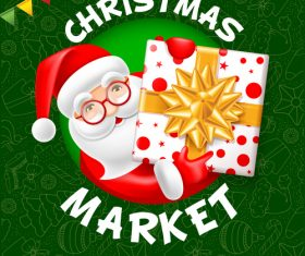 Christmas market poster template vectors 01