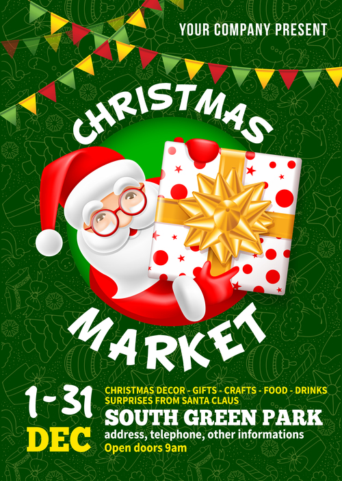 Christmas market poster template vectors 01
