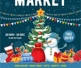 Christmas market poster template vectors 02