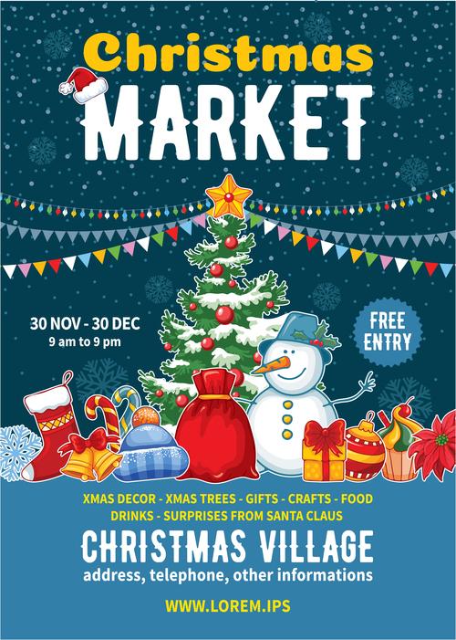 Christmas market poster template vectors 02