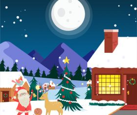 Christmas night santa claus vector illustration