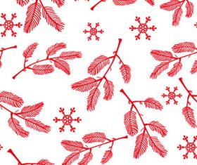 Christmas pine tree leaves snowflakes background vector